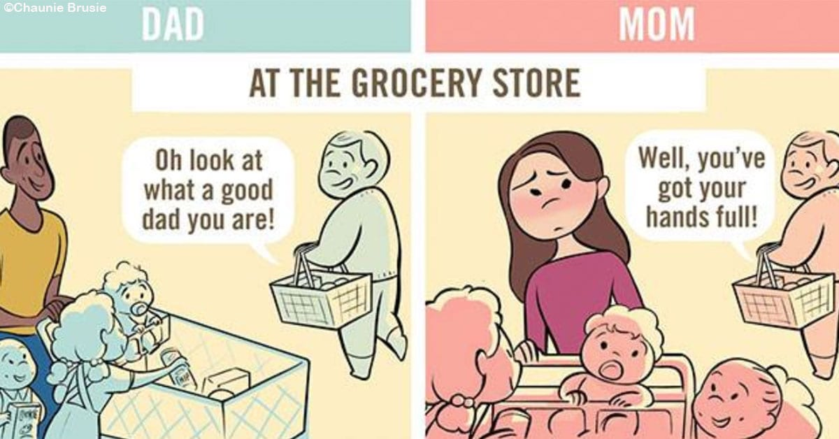 These 5 Comics Perfectly Depict How Moms And Dads Are Viewed Differently In Public