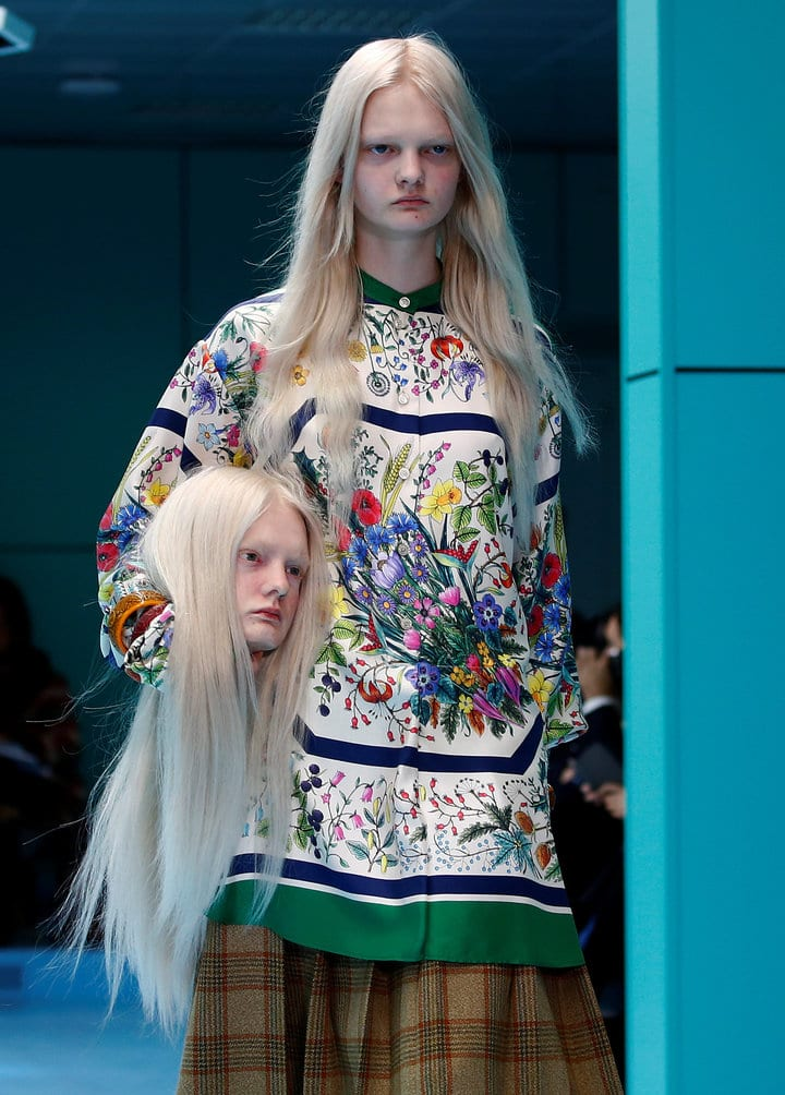 359ee05a85f Model presents a creation from the Gucci Autumn Winter 2018 women  collection during Milan Fashion Week in Milan - Awkward Mom